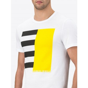 Jersey T-Shirt With Colour-Block Print In The Middle