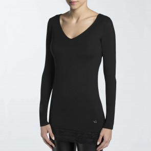 Long Sleeve T-Shirt with Double Neckline 2641 Essentials Avantgarde Lepel